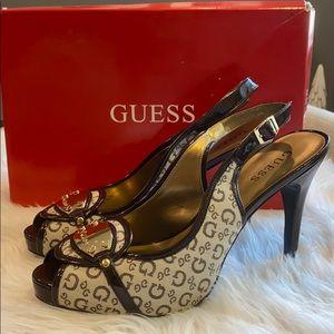 GUESS monogram logo peep toe sling back heels 9